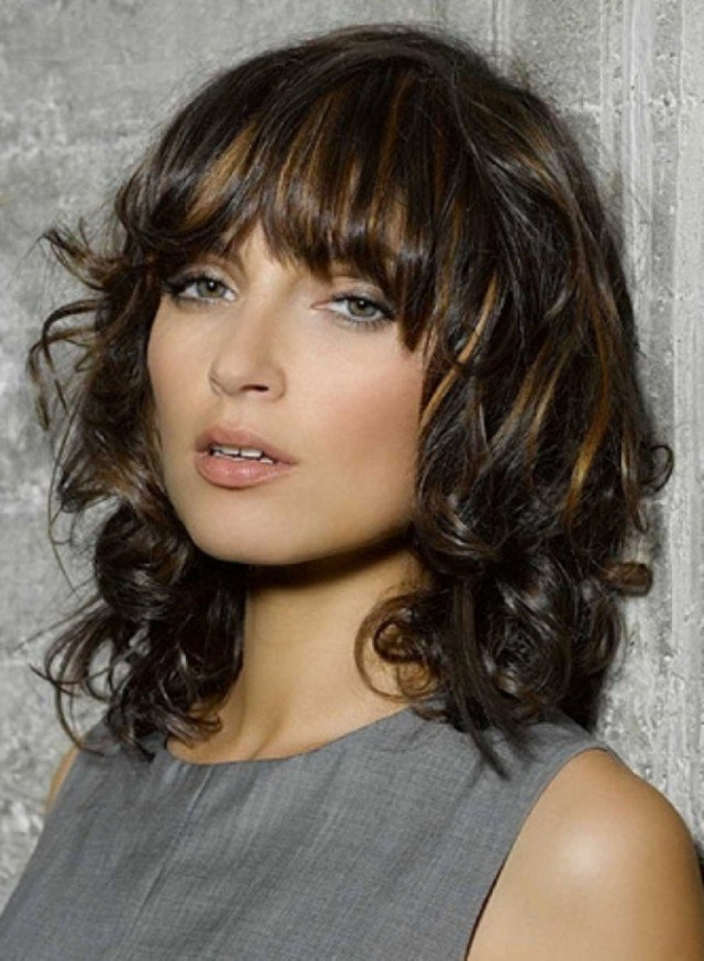 Glamorous Long Curly Hair With Bangs