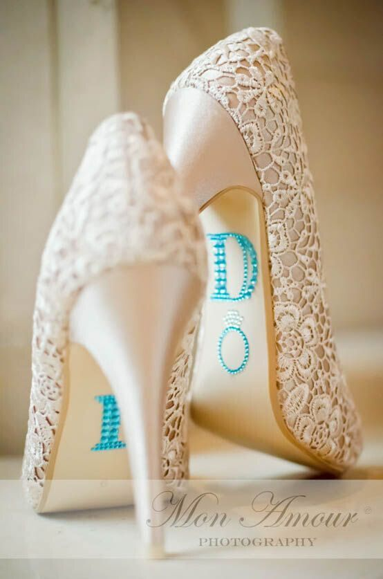 BLUE (I Do) Wedding Shoe Rhinestone Applique - DIY Heels Ideas