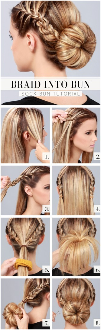 Cute Everyday Hairstyles Tutorials: Braid Into Bun Updos
