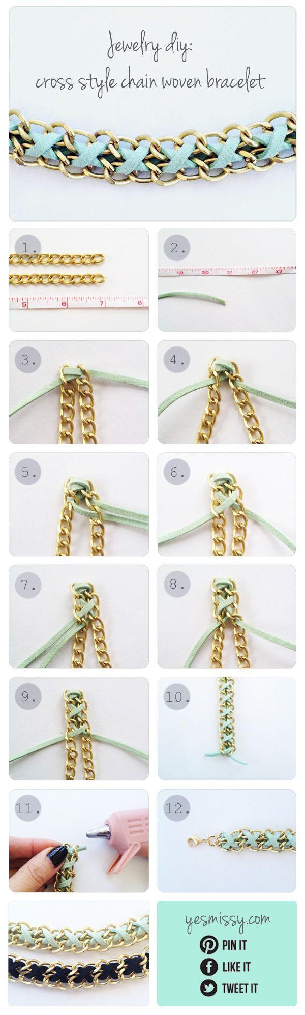 DIY Bracelet - Cross Style Chain Woven Bracelet