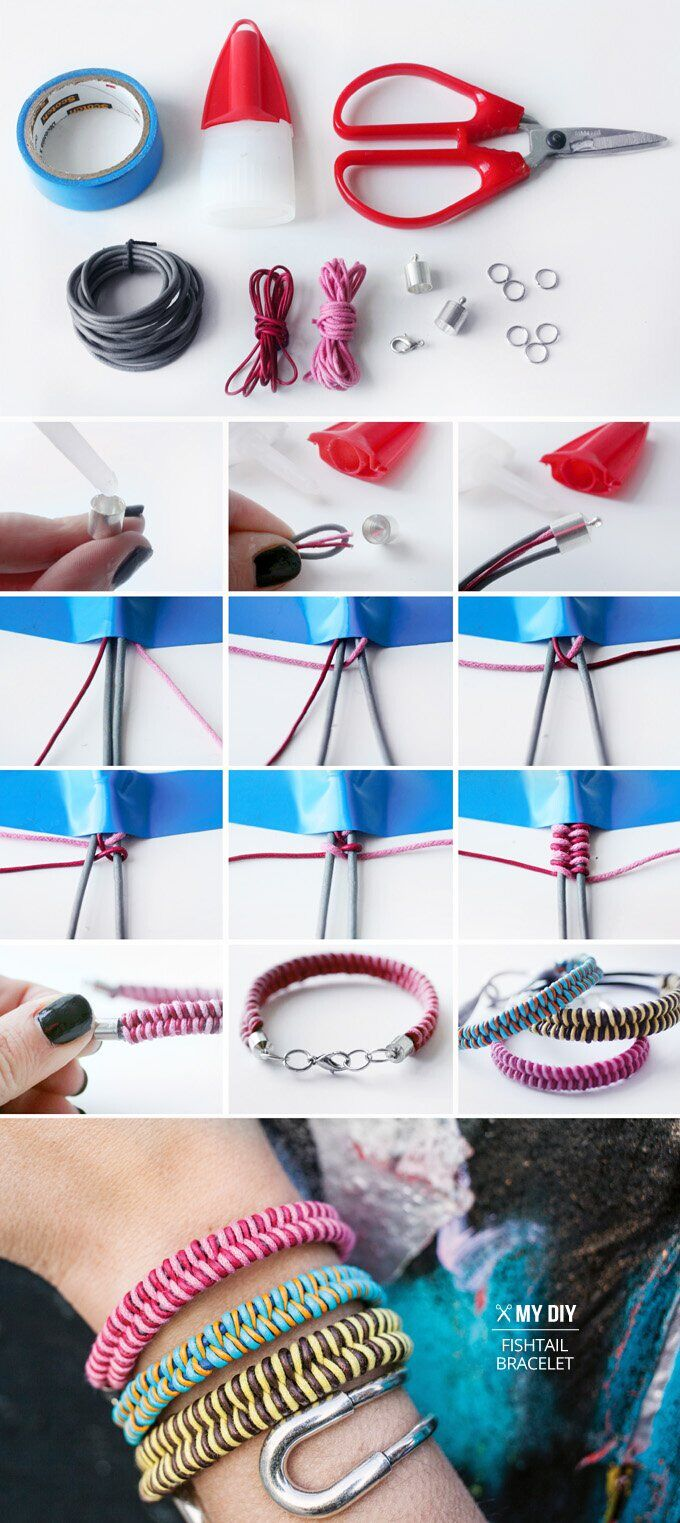 DIY Fishtail Braid Bracelet Jewelry