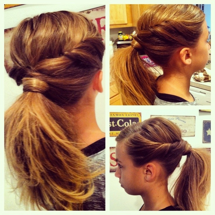Cute Side-parted and Twisted Ponytail
