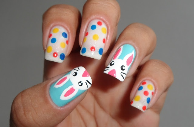 Interesting Bunny and Polka Dots Nail Design