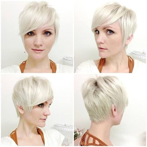 Light Blonde Short Haircuts for Side Bangs: Side, Front and Back View
