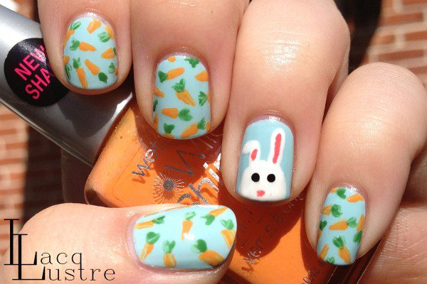 Lovely Bunny and Carrot Nail Design