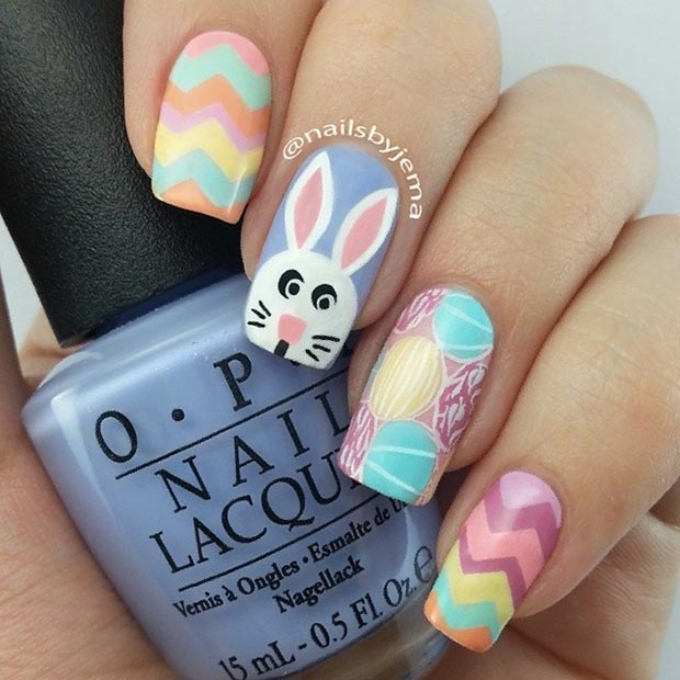Ehmkay Nails Shy Bunny Easter Nail Art: 16 Cute Nail Designs For Spring And Summer