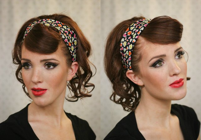 Retro Curly Hairstyle with Headband