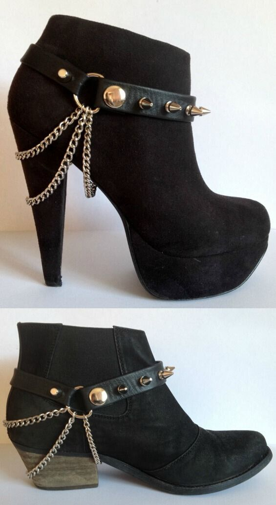 Some cute ideas for adding chains and adding straps to stilettos!