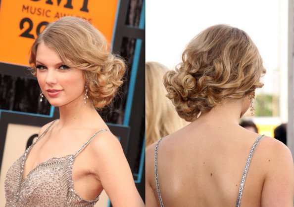 Retro Side Bun Hairstyle for Curly Hair