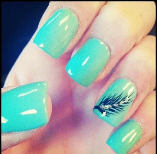 Adorable Mint Nail Design