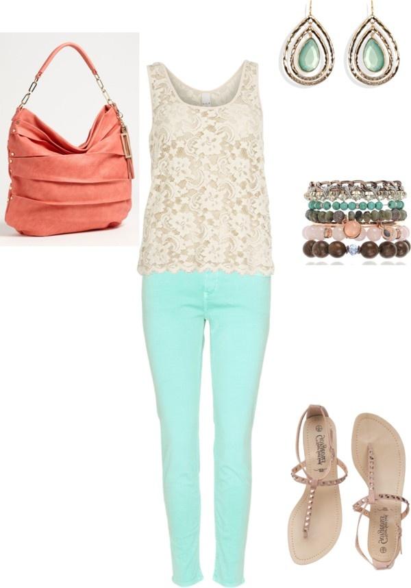 Aqua or mint jeans