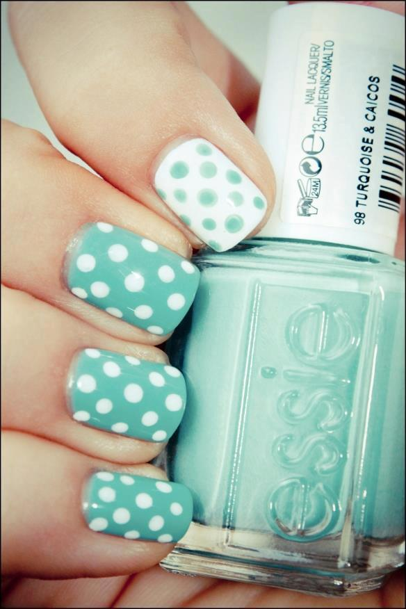 Lovely Mint Nail Design with Dots