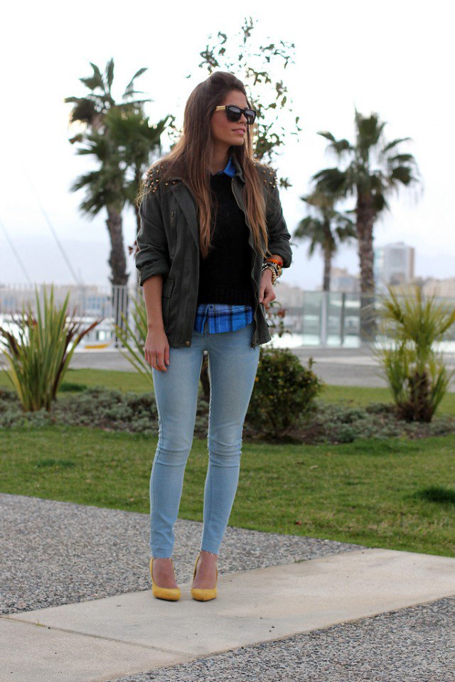 Jeans with Green Jacket