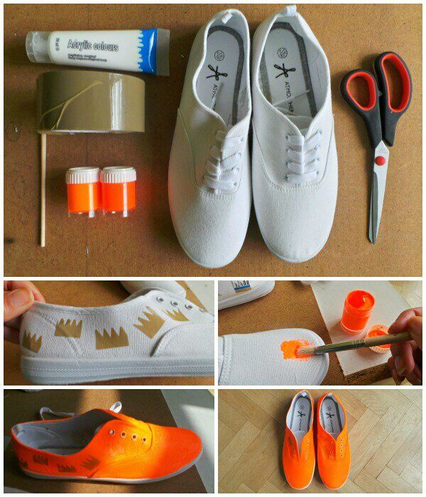 diy sneakers from plain white to neon orange in 3 steps styles