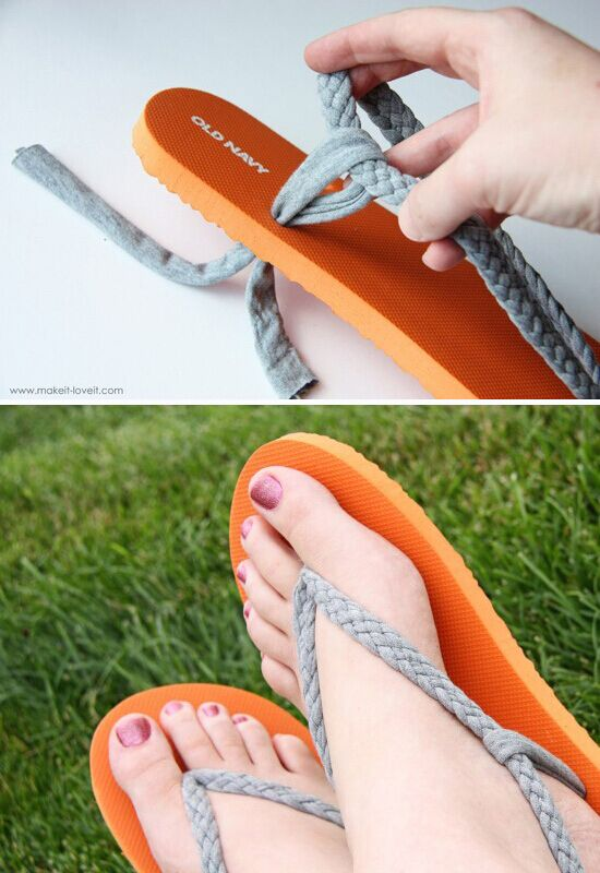 Flip flop refashion part 1 braided straps