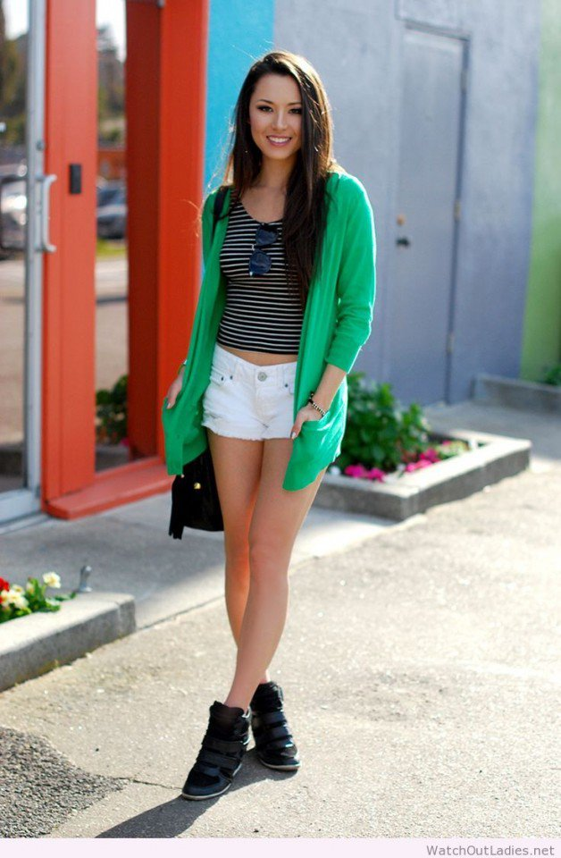 Denim Shorts with Green Cardigan