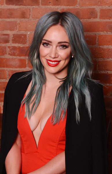 Hilary Duff Blue Long Curly Hairstyle