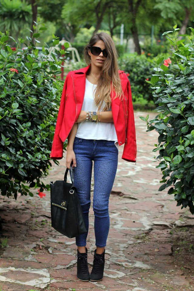 Faddish Jeans Outfit with Red Jacket