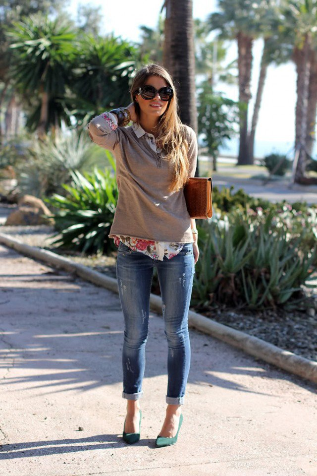 Brown Blouse with Jeans