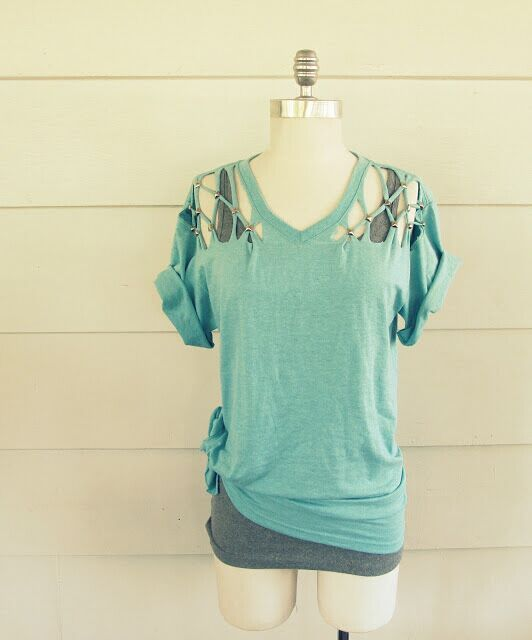 Lattice Shoulder Cutout Tee
