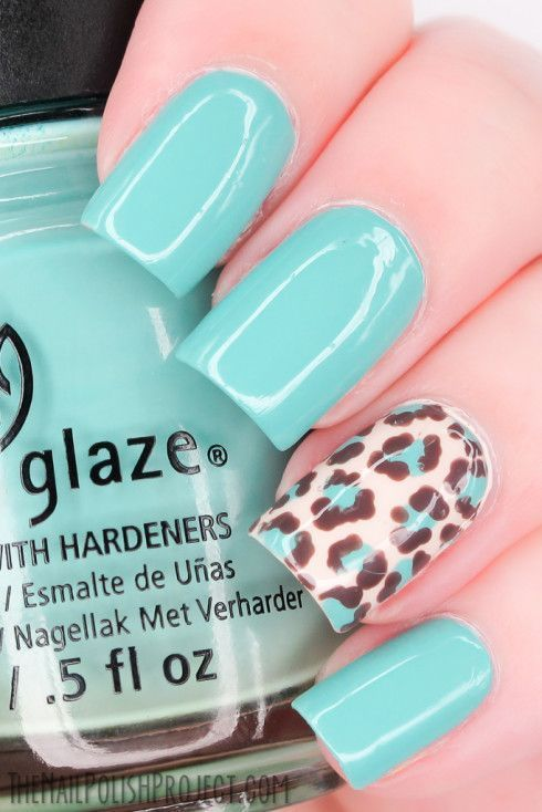 Classy Mint Nail Design with Leopard Prints