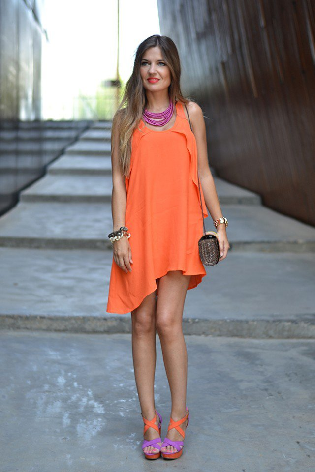 Chic Orange Flounce Dress Outfit