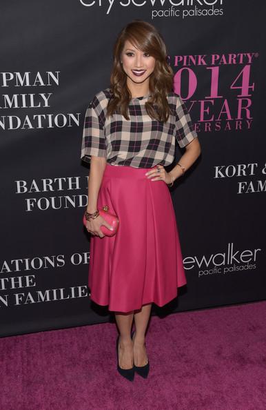Pink Pleated Knee-length Skirt