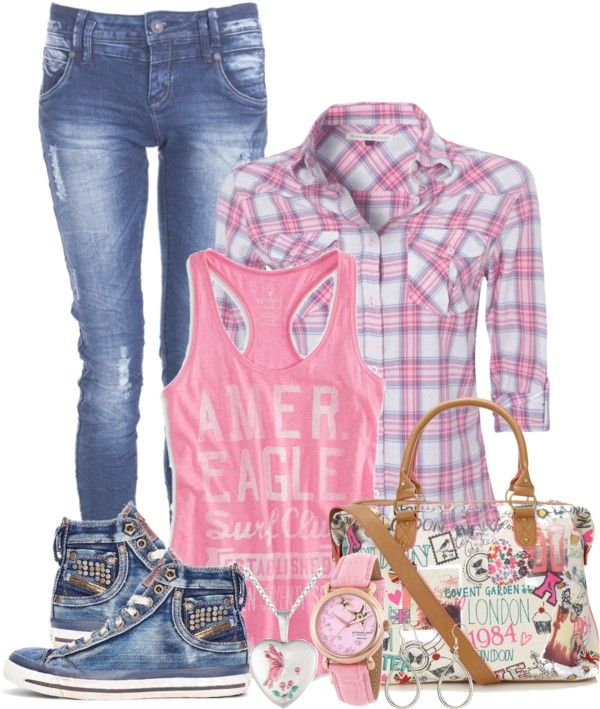 STYLES jeans, plaid shirt and graphic T