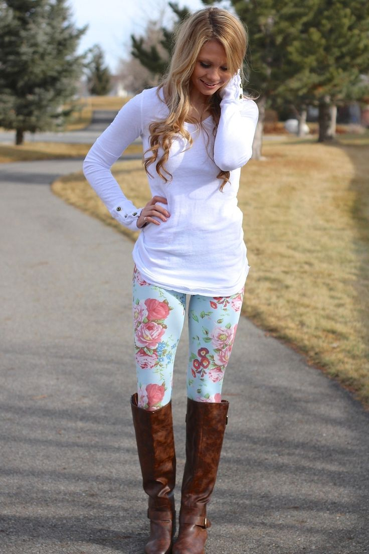STYLES printed leggings and rider boots