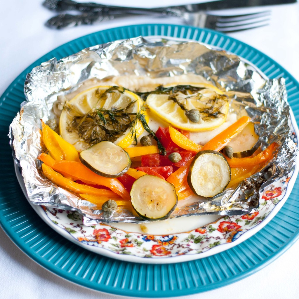 Tilapia in a foil packet