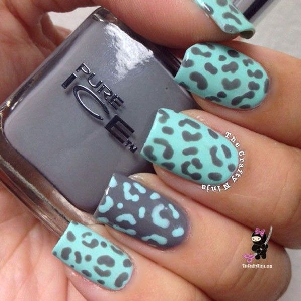 Animal Nail Art: Turquoise-Leopard-Animal-Print-Nail-Art
