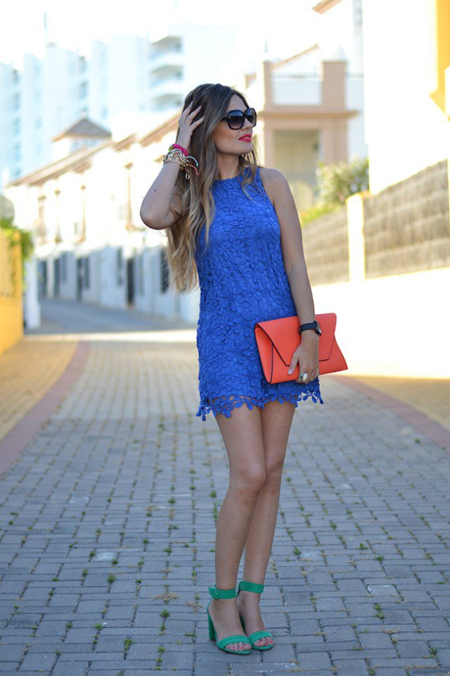 Blue Crochet Dress with Orange Clutch