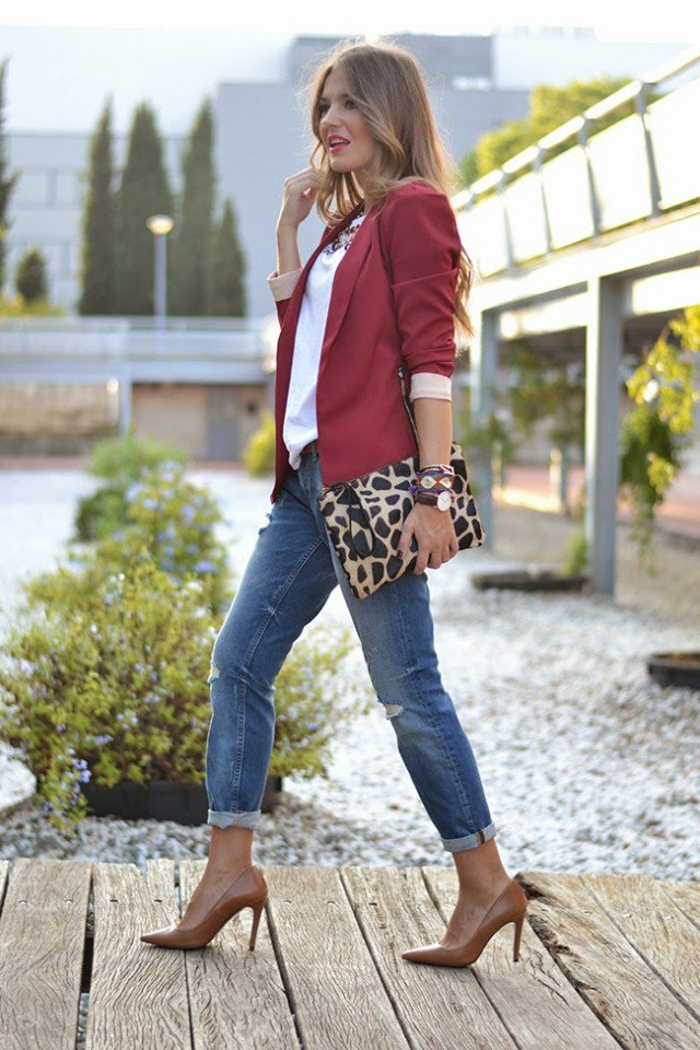 Burgundy Coat with Jeans