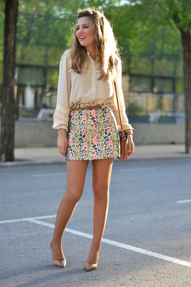 Pretty Camellia Shirt With Floral Skirt