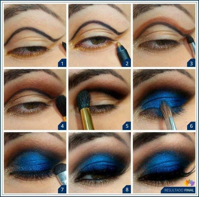 Classy Deep Blue Smoky Eye Makeup Tutorial