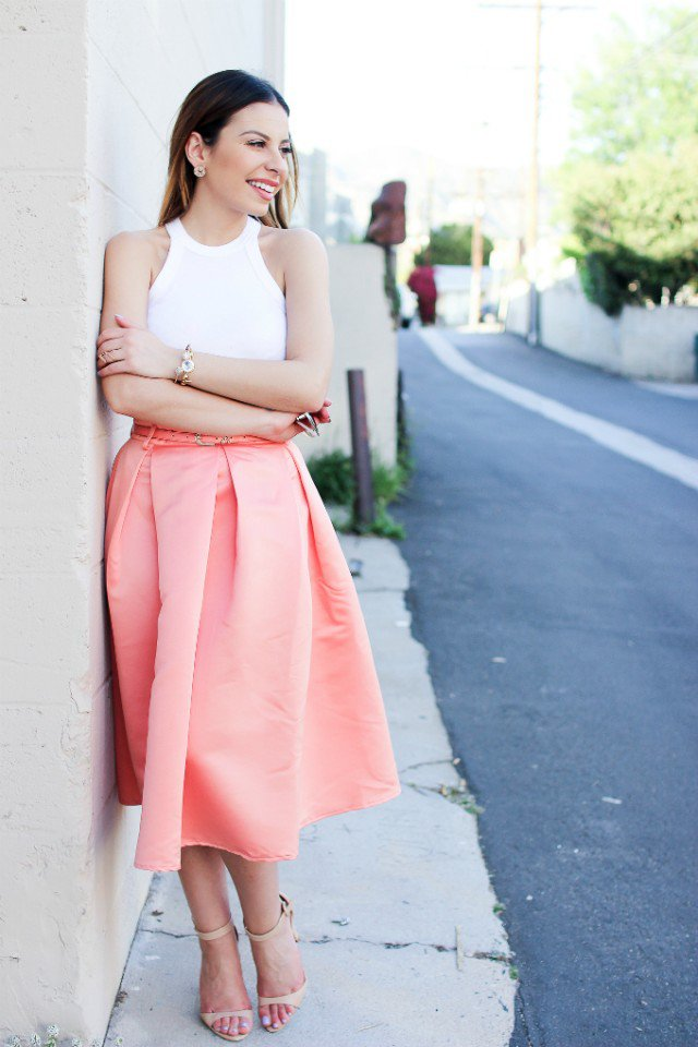 Beautiful Full Skirt with White Top