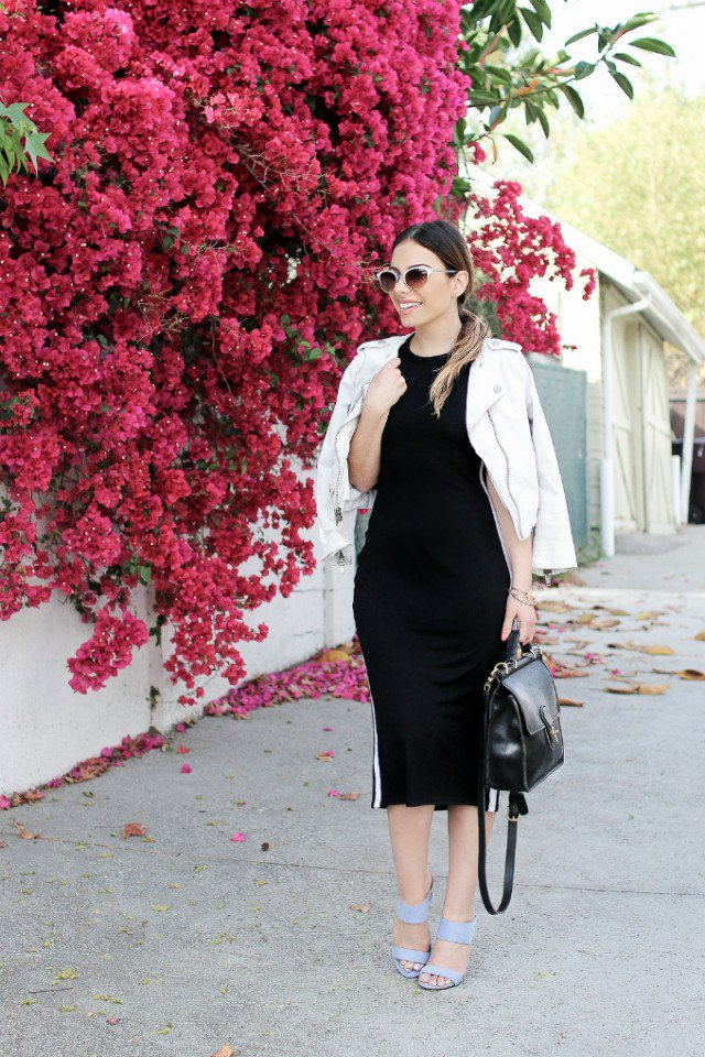 Classy Black Dress with White Coat