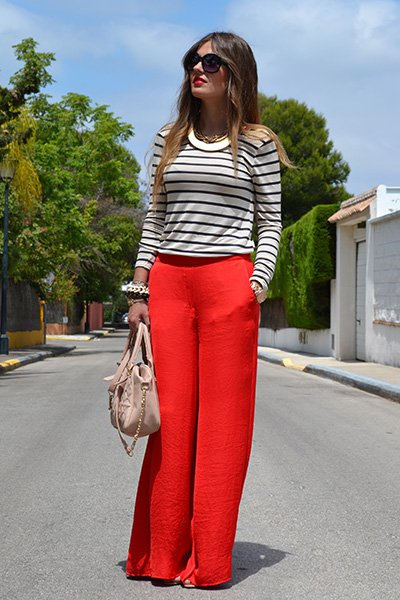 Fashionable Red Palazzo With Stripe Shirt