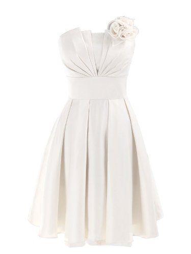A-line strapless knee-length dress