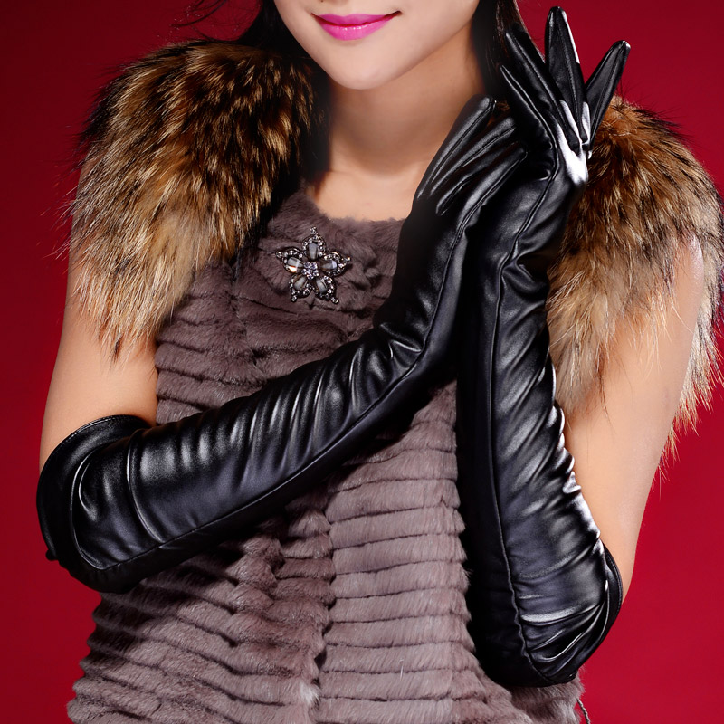 A pair of long leather gloves