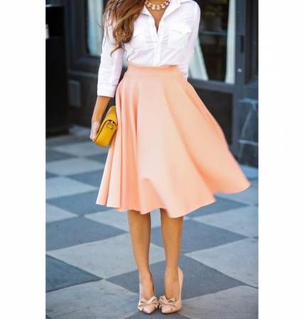 A pastel flare skirt