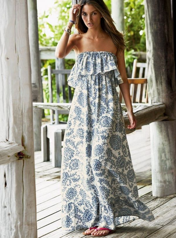 A strapless ruffled maxi dress