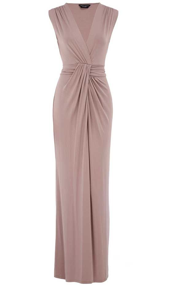 A taupe maxi dress