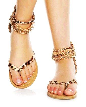 Animal print thong sandals