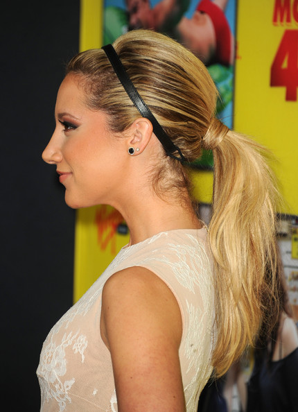 Ashley Tisdale's Wrapped Low Ponytail