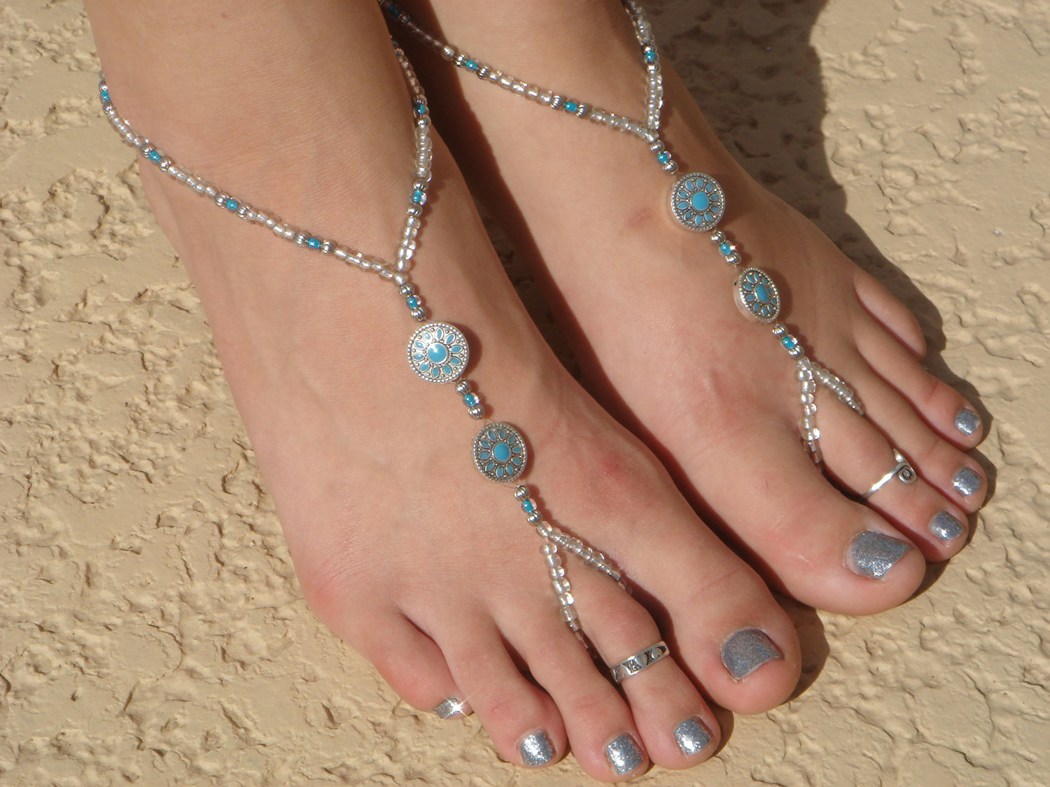 Beaded footless sandals