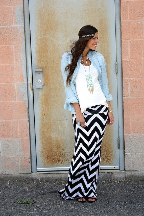 Black and white chevron maxi skirt