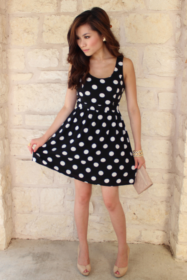 Black-and-white polka dot dress