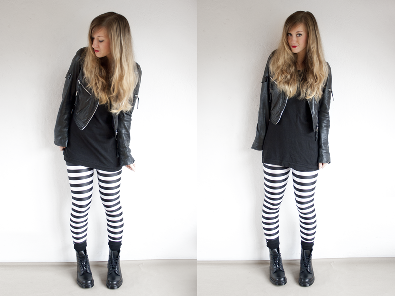 Black-and-white striped leggings