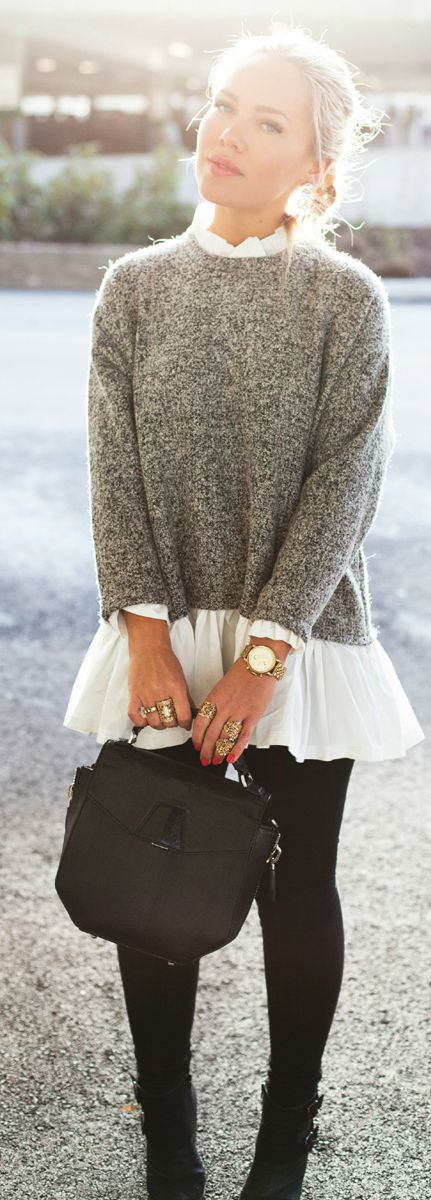 Black and white sweater, white shirt, black pants